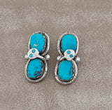 Effie C aka Effie Calabaza, Zuni Silver and Turquoise Post Earrings with Snake Design