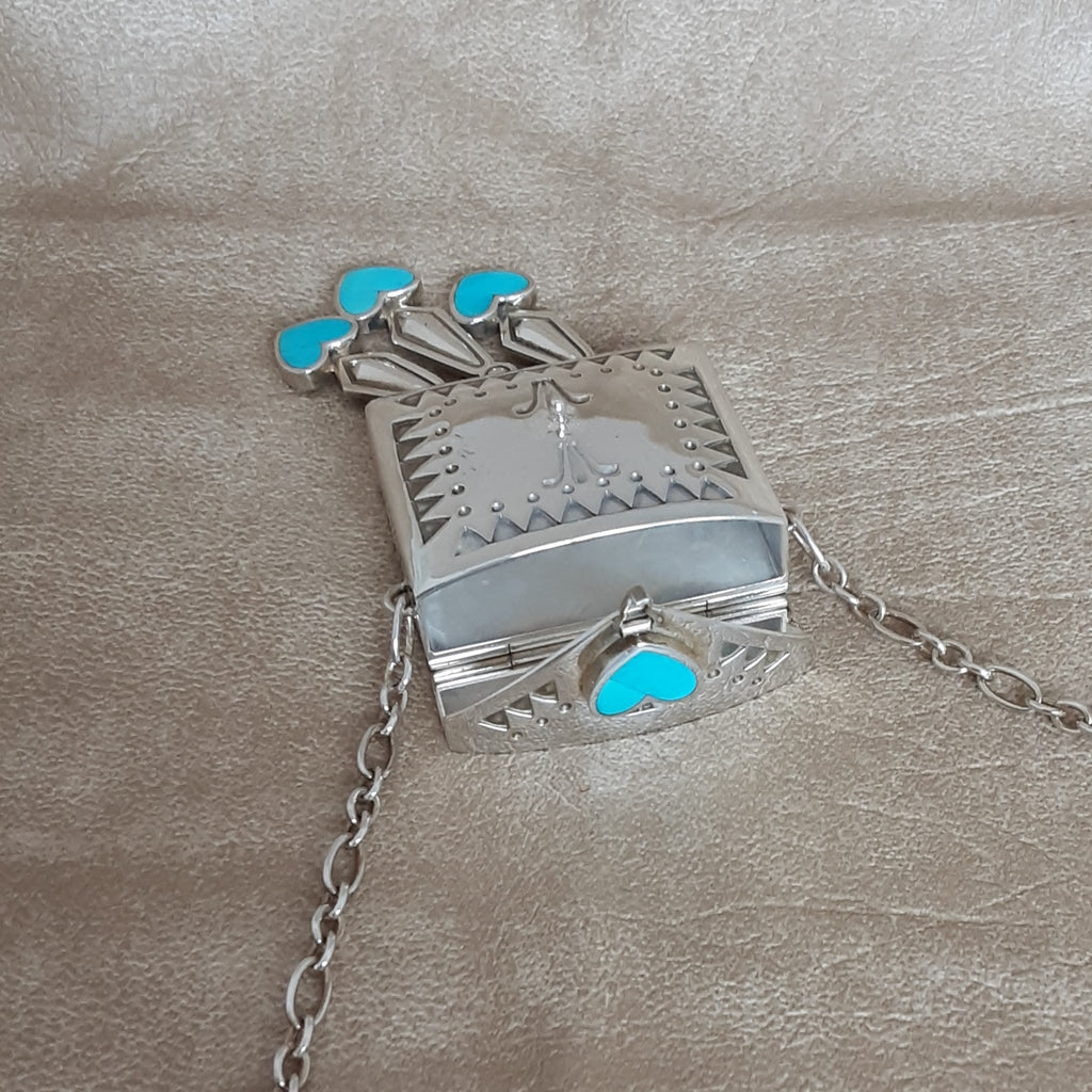 Signature One-of-a-Kind Silver Medicine Bag with Sleeping Beauty Turquoise by Ray Tracey, Navajo