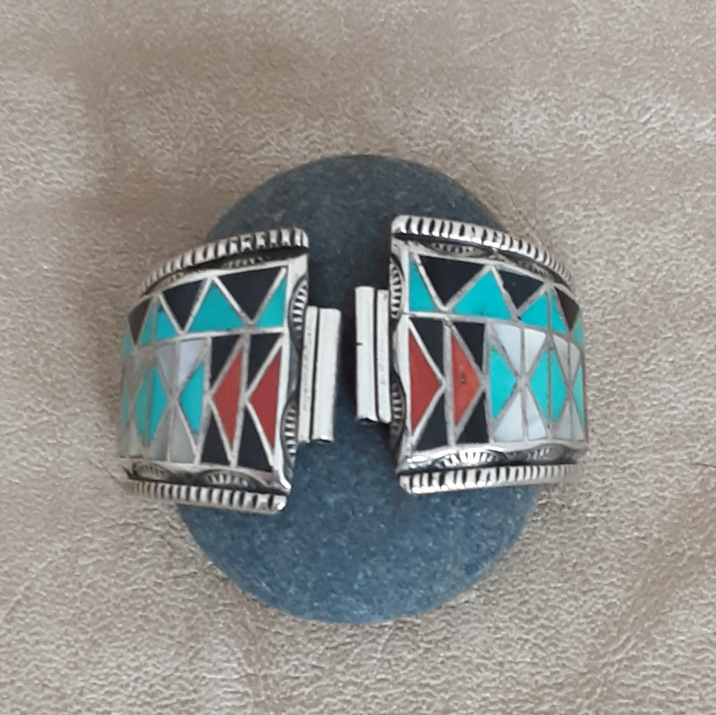 Vintage Zuni Inlay Watch Tips with Turquoise, Coral, Black Jet and Mother of Pearl for Man or Woman