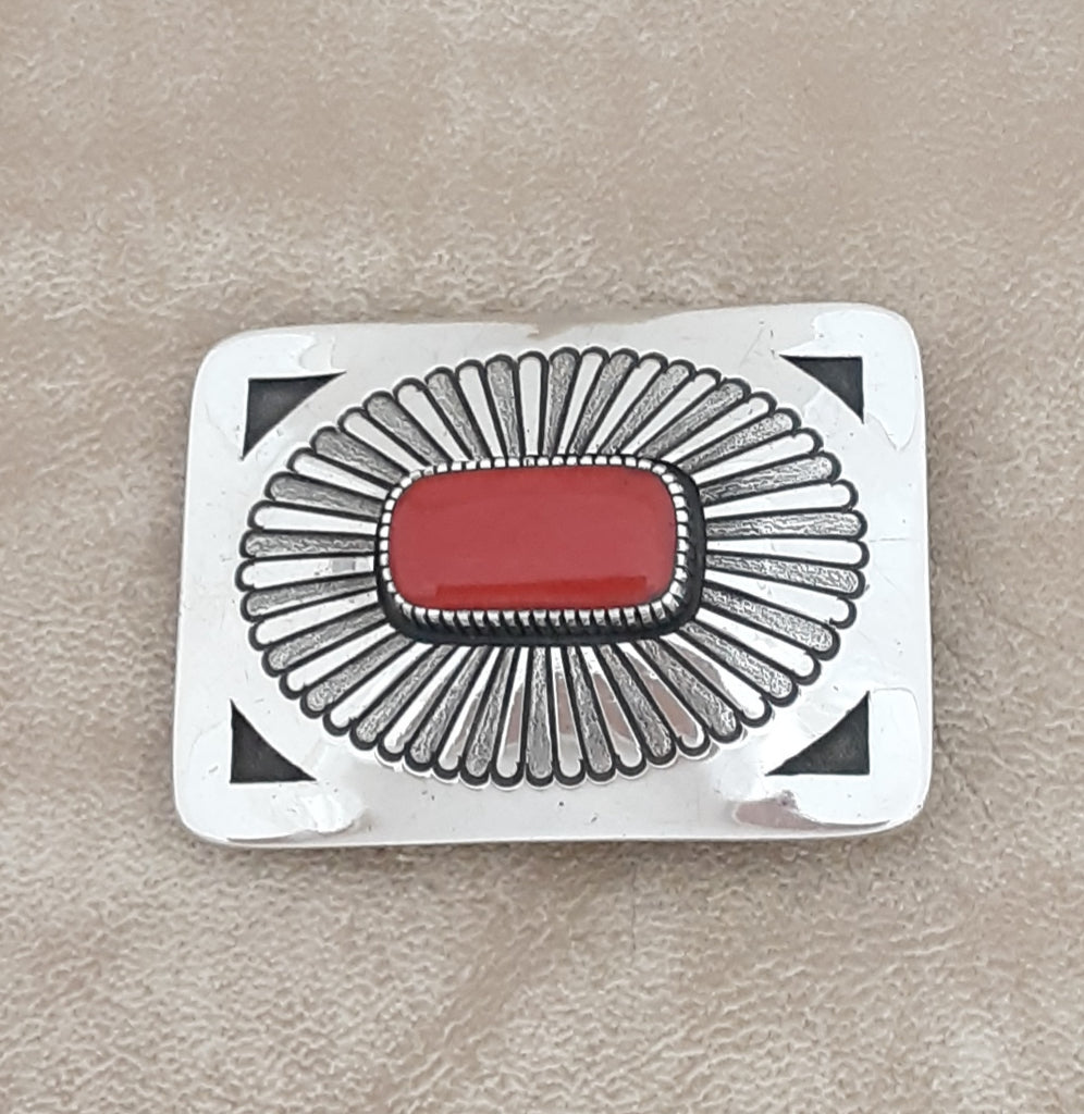 Gibson Nez, Apache and Navajo Silver Belt Buckle with Genuine Red Coral - for a man or woman