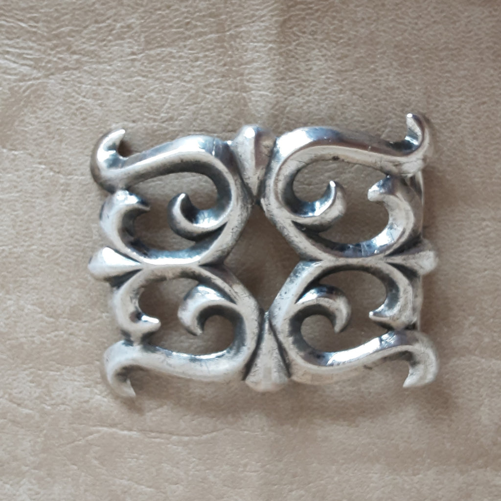 Sterling Silver Navajo Vintage Sand Cast Belt Buckle for Men or Women