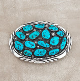 Navajo Genuine Turquoise Cluster Belt Buckle for Men or Women