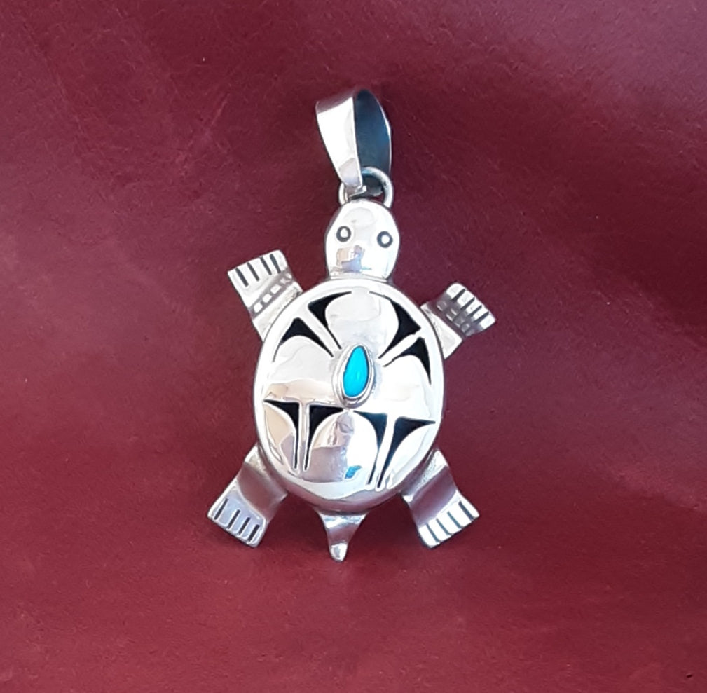 Bennie Ration, Navajo Turtle Shadowbox Pendant with Turquoise