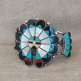 Authentic Zuni Inlay Bracelet with Sun Bonnet Design