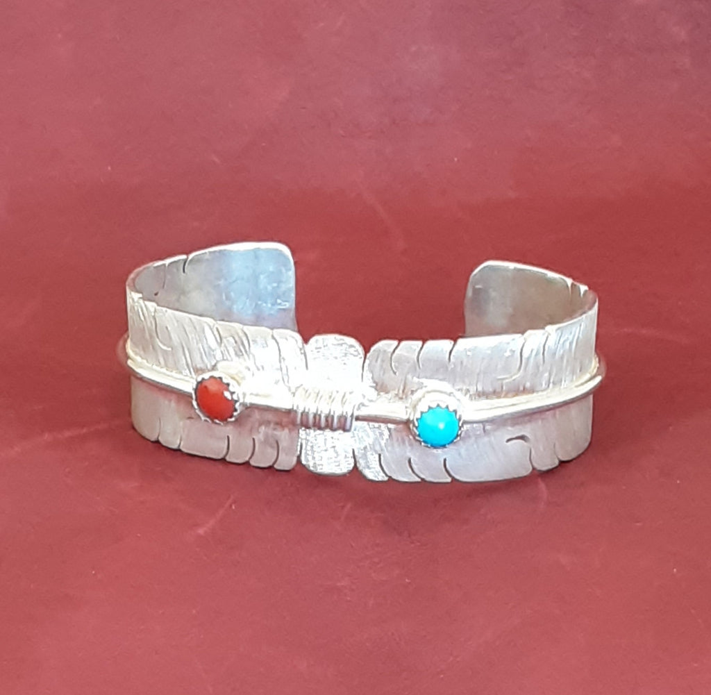 David Kuticka, Isleta Pueblo Feather Cuff Bracelet with Turquoise and Coral