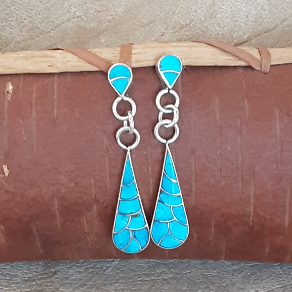 Native American Zuni Blue Turquoise Channel Sterling Silver Handmade Earrings by Lynelle Johnson