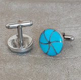 Blue Turquoise Zuni Inlay Cuff Links by Orlinda Natewa