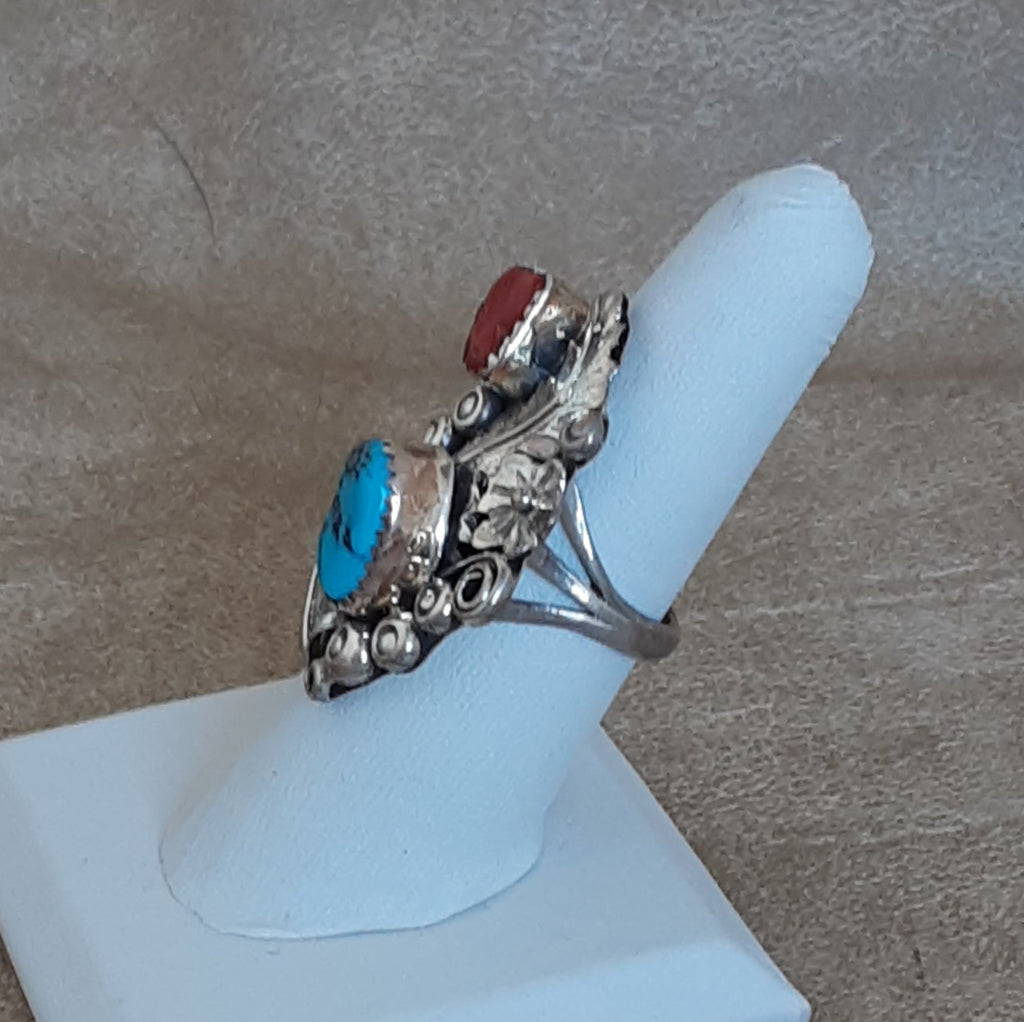 Blue Turquoise and Red Coral Navajo Ring with Scroll Design
