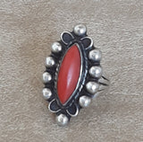 Vintage Red Coral Navajo Diamond Shaped Sterling Silver Ring