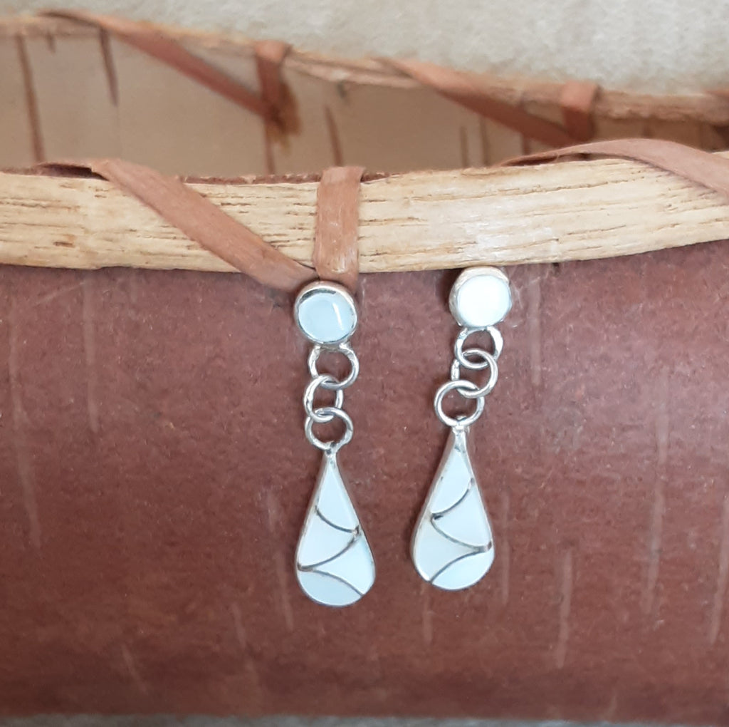 White Mother of Pearl Zuni Channel Inlay Dangle Post Earrings