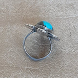 Vintage Blue Turquoise Navajo Ring with Flat Bezel and Rope Design
