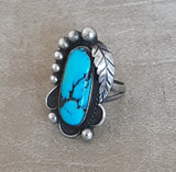 Native American Genuine Navajo Scroll Style Ring with Blue Turquoise