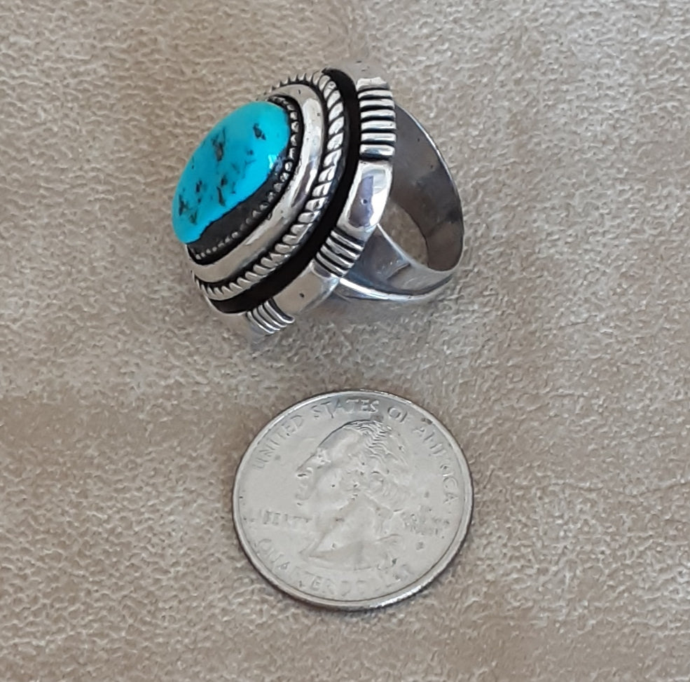 Ben Begaye, Navajo Silver and Blue Lone Mountain Turquoise ring