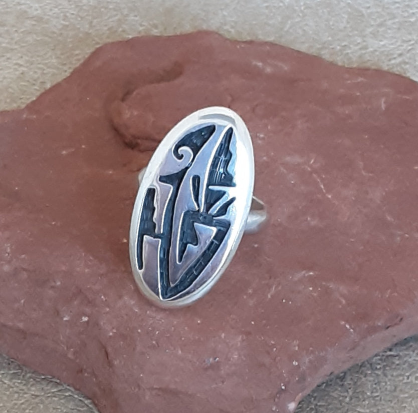 Genuine Hopi Overlay Ring with Rain Symbols and Prayer Feather