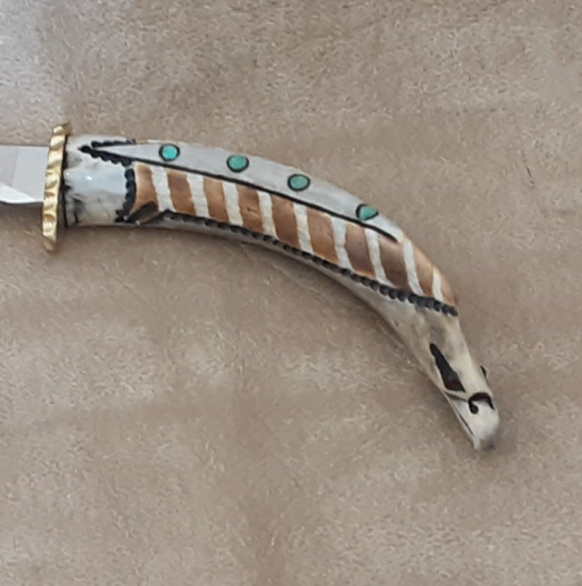 Antler Carved Knife with Eagle Design and Inlay Turquoise