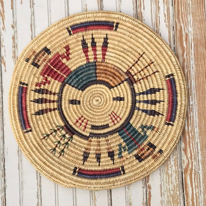 Lorraine Black, Navajo Basket with Sun, Plants and Figures