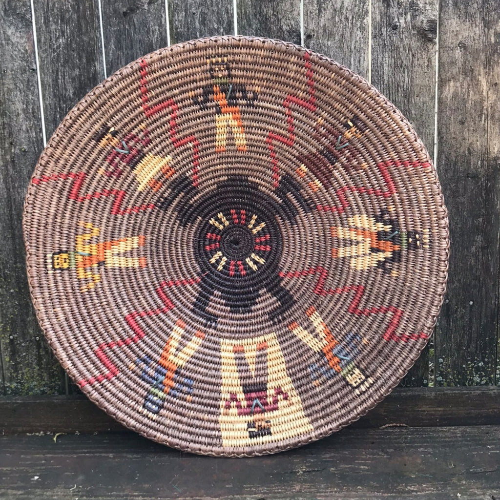Navajo Large Coiled Basket with Frog & Figures  AC31