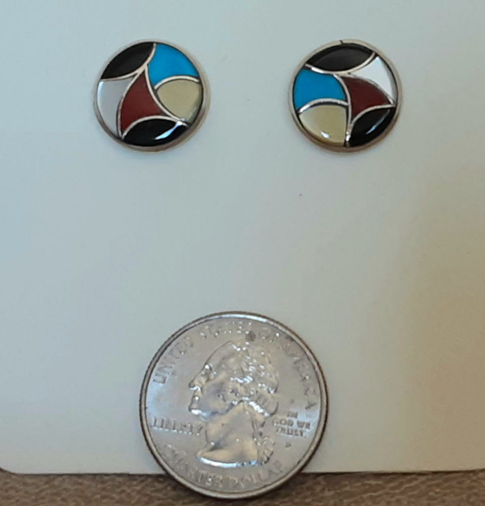 Genuine Zuni Native American Inlay Post Earrings
