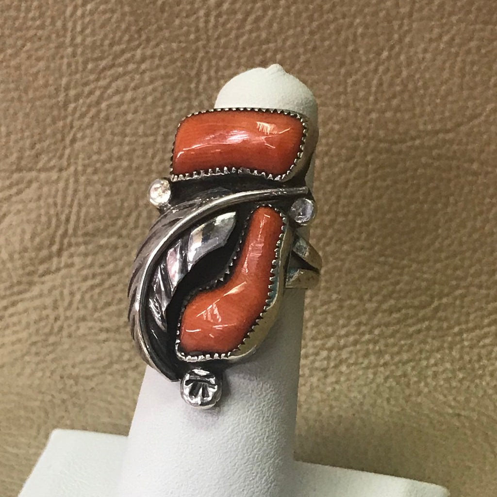 Ben & Felicita Eustace, Zuni Vintage Ring with 2 Red Coral Stones and Handmade Leaf   DDC1