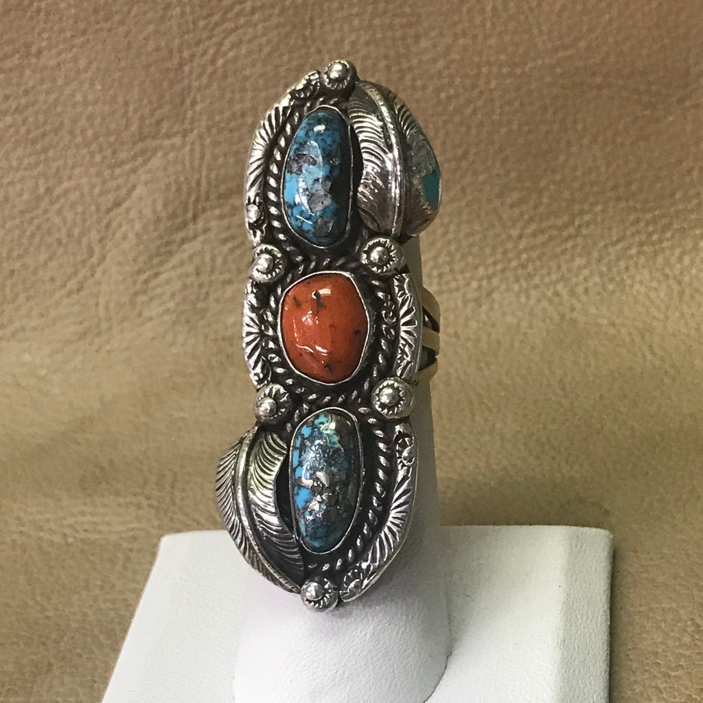 Vintage Navajo Ring with Morenci Turquoise and Genuine Coral   BMC128