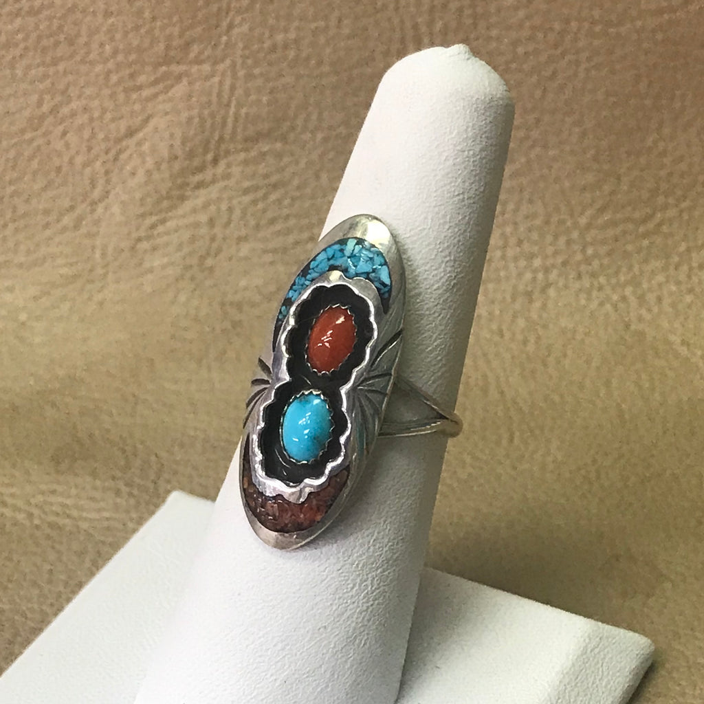 Navajo Shadowbox Style Ring with Turquoise and Coral Chip Inlay  MD31