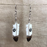 Handmade Bone Wolf Track Dangle Earrings by Lonny Cloud, Standing Rock Lakota & Lumbee Nation 0/69