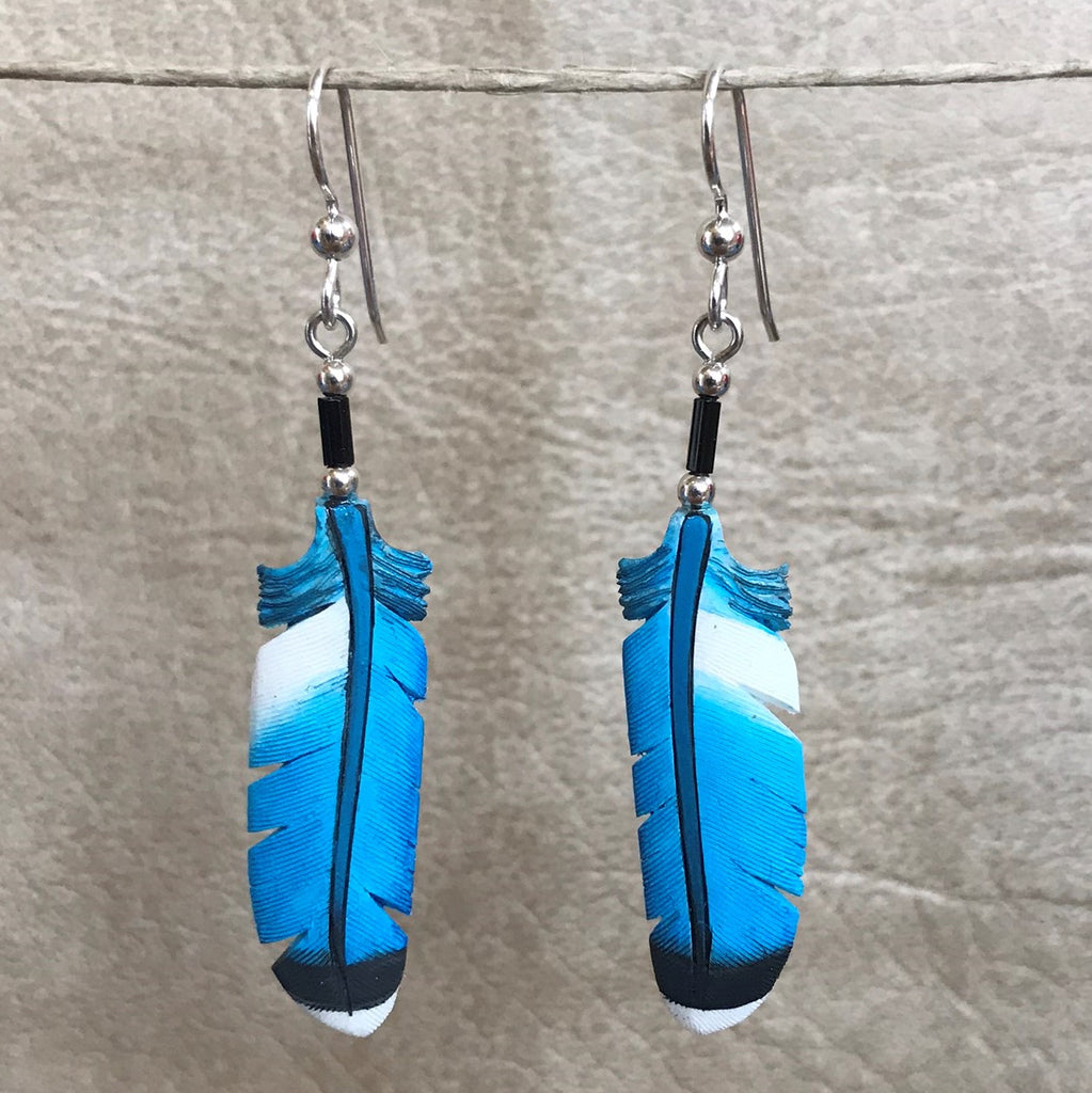 Handmade Bone Mountain Blue Bird Feather Dangle Earrings by Lonny Cloud, Standing Rock Lakota & Lumbee Nation 0/73
