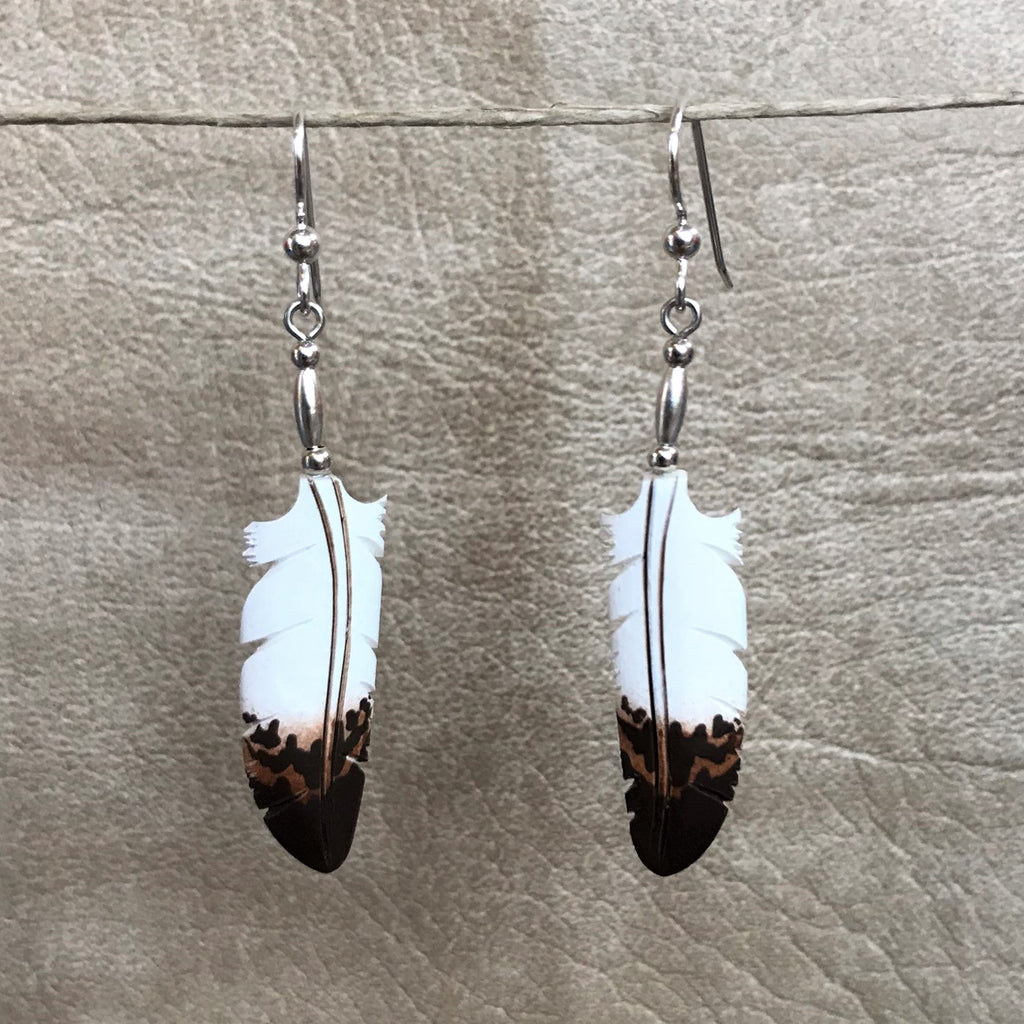 Handmade Bone Eagle Feather Dangle Earrings by Lonny Cloud, Standing Rock Lakota & Lumbee Nation 0/74