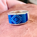 Supersmith Contemporary Navajo Inlay Ring with Lapis, Denim Lapis and Cultured Opal Designed by David Rosales 0/122