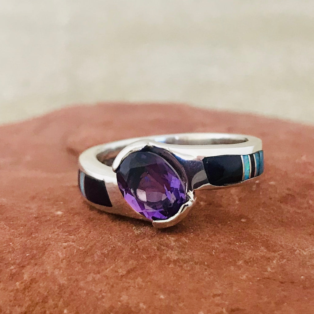 Navajo Contemporary Inlay Ring with Campitos Turquoise, Sugalite, Cultured Opal and Amethyst by Supersmith 0/140