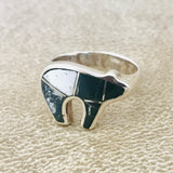 Supersmith Contemporary Navajo Inlay Bear Design Ring with Natural White Buffalo Designed by David Rosales 0/120