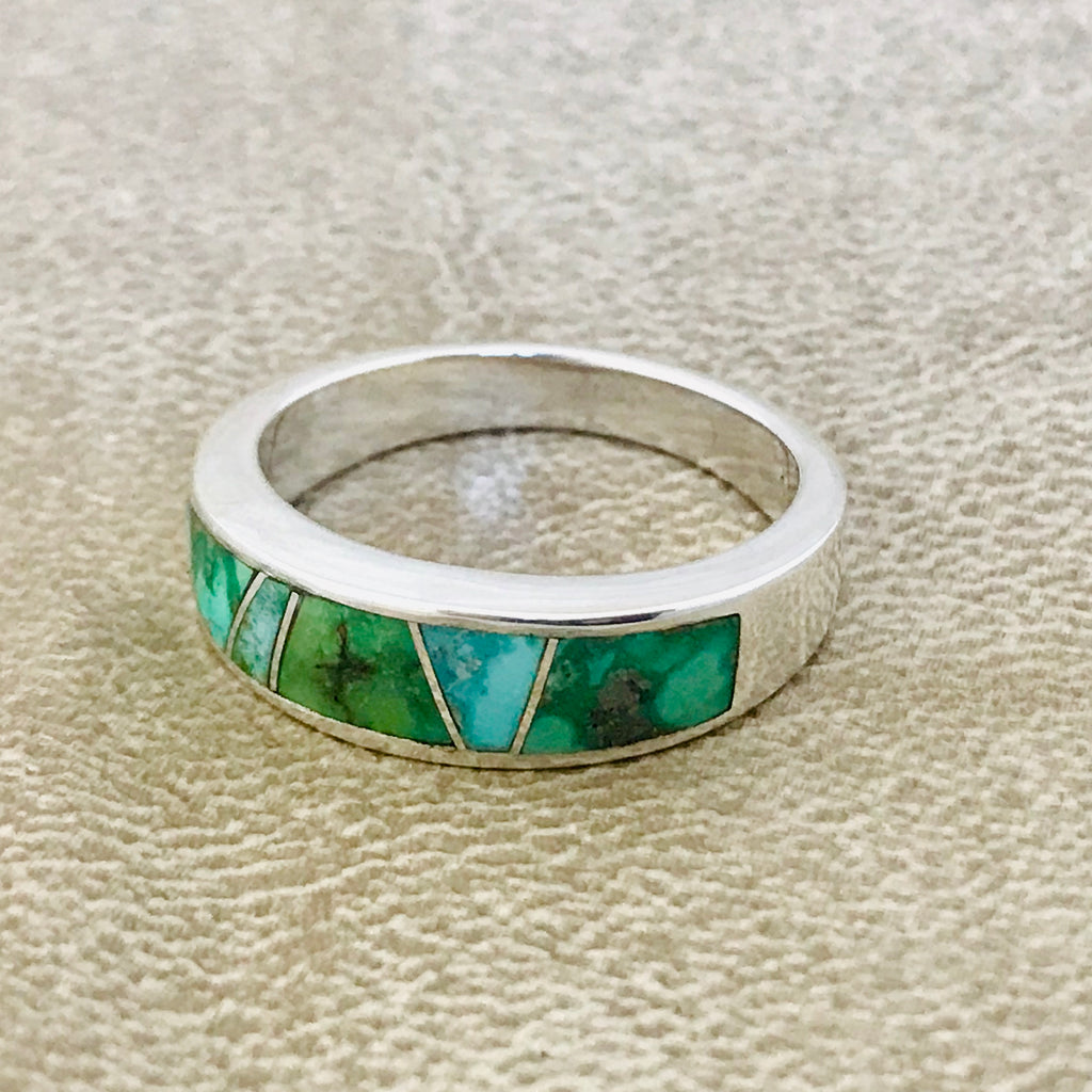Sonoran Turquoise Inlay Navajo Ring  by David Rosales of Supersmith  0/127