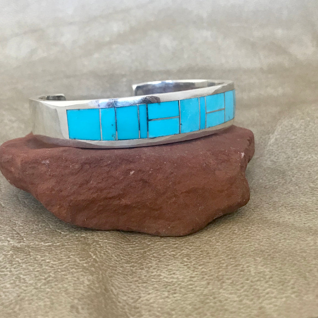 Supersmith Inlay Kingman Turquoise Navajo Bracelet Designed by David Rosales 0/146