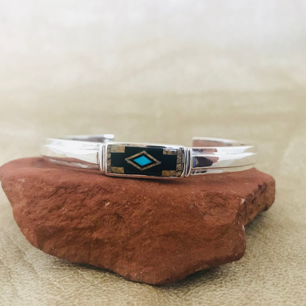 Navajo Inlay Bracelet by David Rosales of the Supersmith Collection - Black Jade, Picture Jasper and Turquoise 0/142