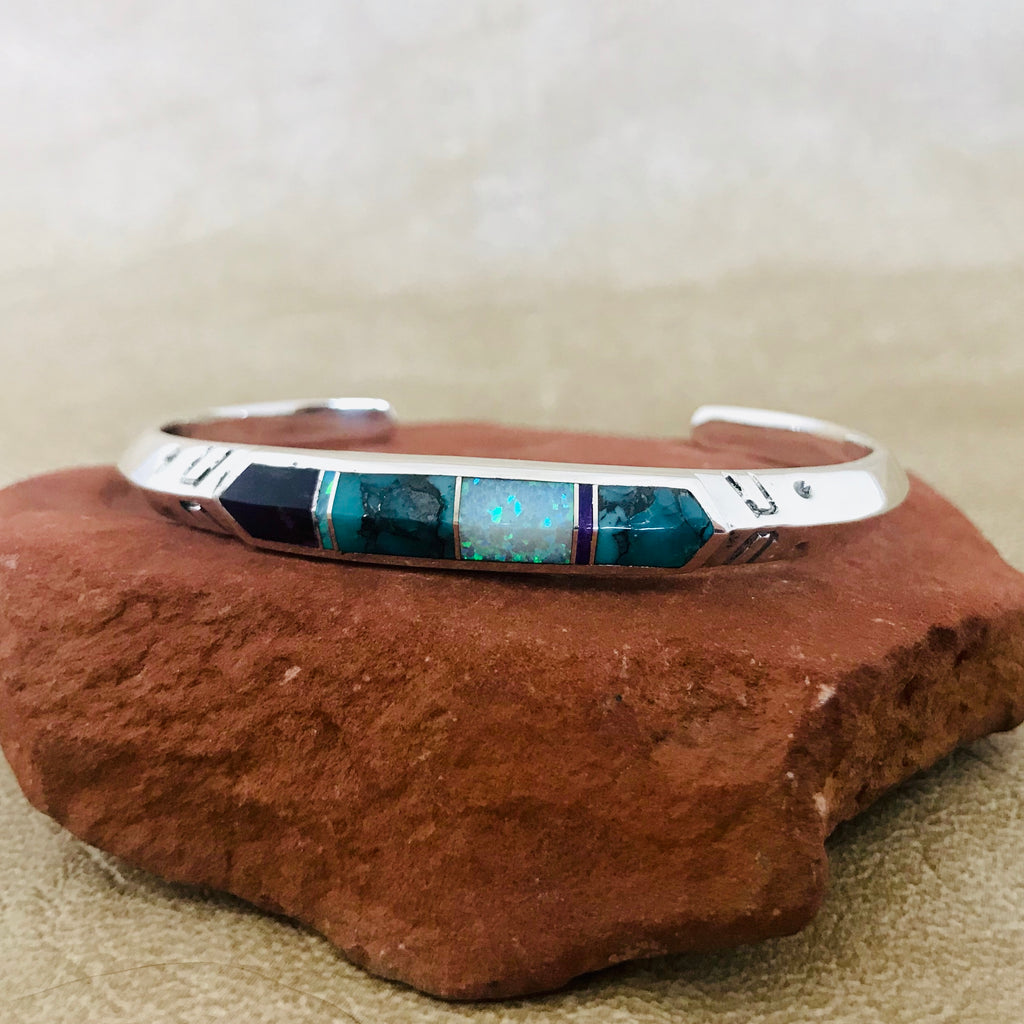 Navajo Contemporary Inlay Bracelet with Campitos Turquoise, Sugalite and Cultured Opal by Supersmith 0/143