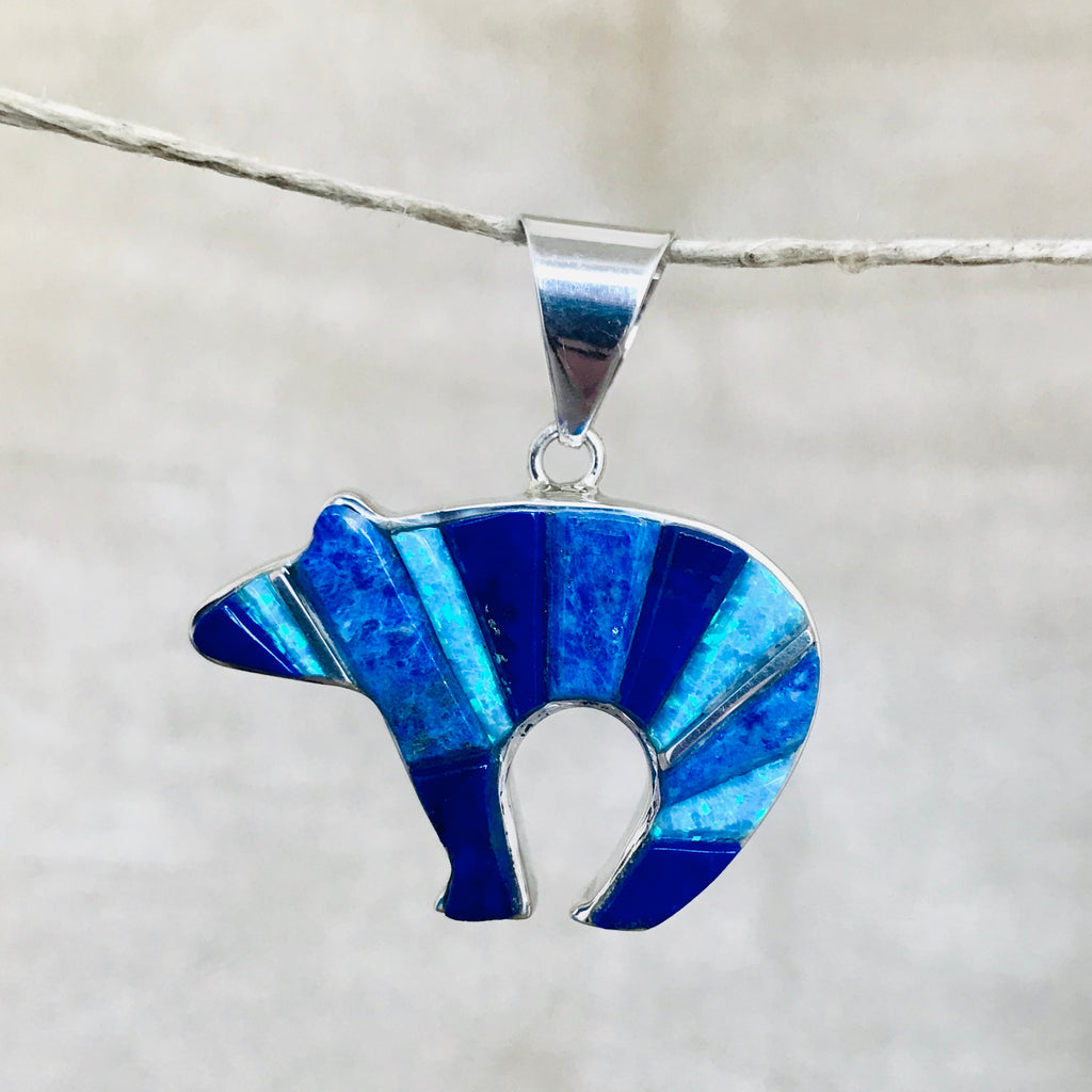 Contemporary Navajo Reversible Inlay Bear Pendant with Lapis, Denim Lapis and Cultured Opal Designed by David Rosales of  Supersmith 0/101