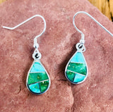Sonoran Turquoise Inlay Navajo Dangle Earrings by David Rosales of Supersmith  0/108