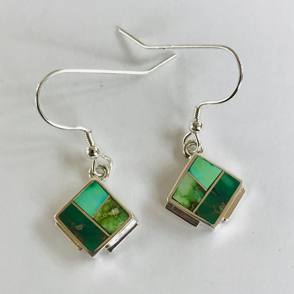 Sonoran Turquoise Inlay Navajo Dangle Earrings by David Rosales of Supersmith  0/110