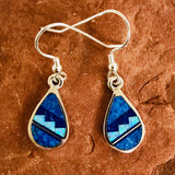 Contemporary Navajo Inlay Dangle Earrings with Lapis, Denim Lapis and Cultured Opal Designed by David Rosales of  Supersmith 0/114