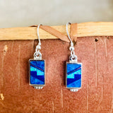 Contemporary Navajo Inlay Dangle Earrings with Lapis, Denim Lapis and Cultured Opal Designed by David Rosales of  Supersmith 0/113