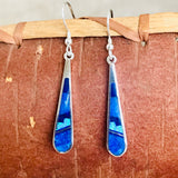 Supersmith Contemporary Navajo Inlay Dangle Earrings with Lapis, Denim Lapis and Cultured Opal Designed by David Rosales 0/115