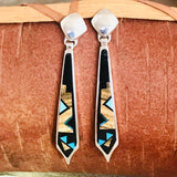 Navajo Inlay Earrings by David Rosales of the Supersmith Collection - Black Jade, Picture Jasper and Turquoise 0/139