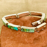 Sonoran Turquoise Link Bracelet Navajo  by David Rosales of Supersmith  0/128