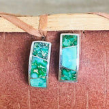 Sonoran Turquoise Inlay Navajo 1/2 Hoop Earrings by David Rosales of Supersmith  0/111