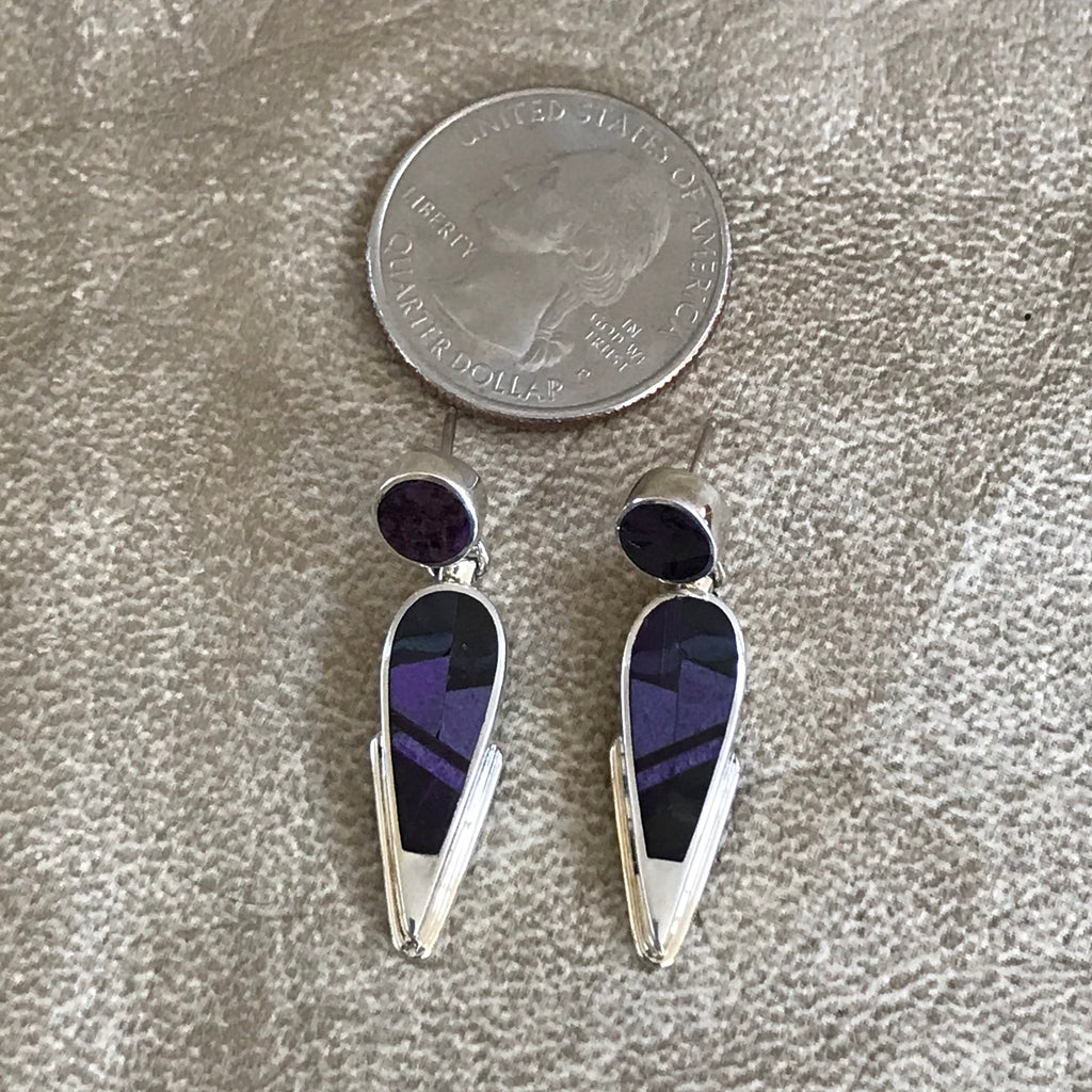 Supersmith Navajo Post Dangle Earrings with Light and Dark Purple Sugalite Designed by David Rosales 0/134