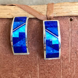 Supersmith Contemporary Navajo Inlay Post 1/2 Hoop Earrings with Lapis, Denim Lapis and Cultured Opal Designed by David Rosales 0/121