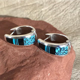 Supersmith Inlay Huggie Hoop Earrings with Black Jade, Itaca Peak and Kingman Turquoise Designed by David Rosales  0/126