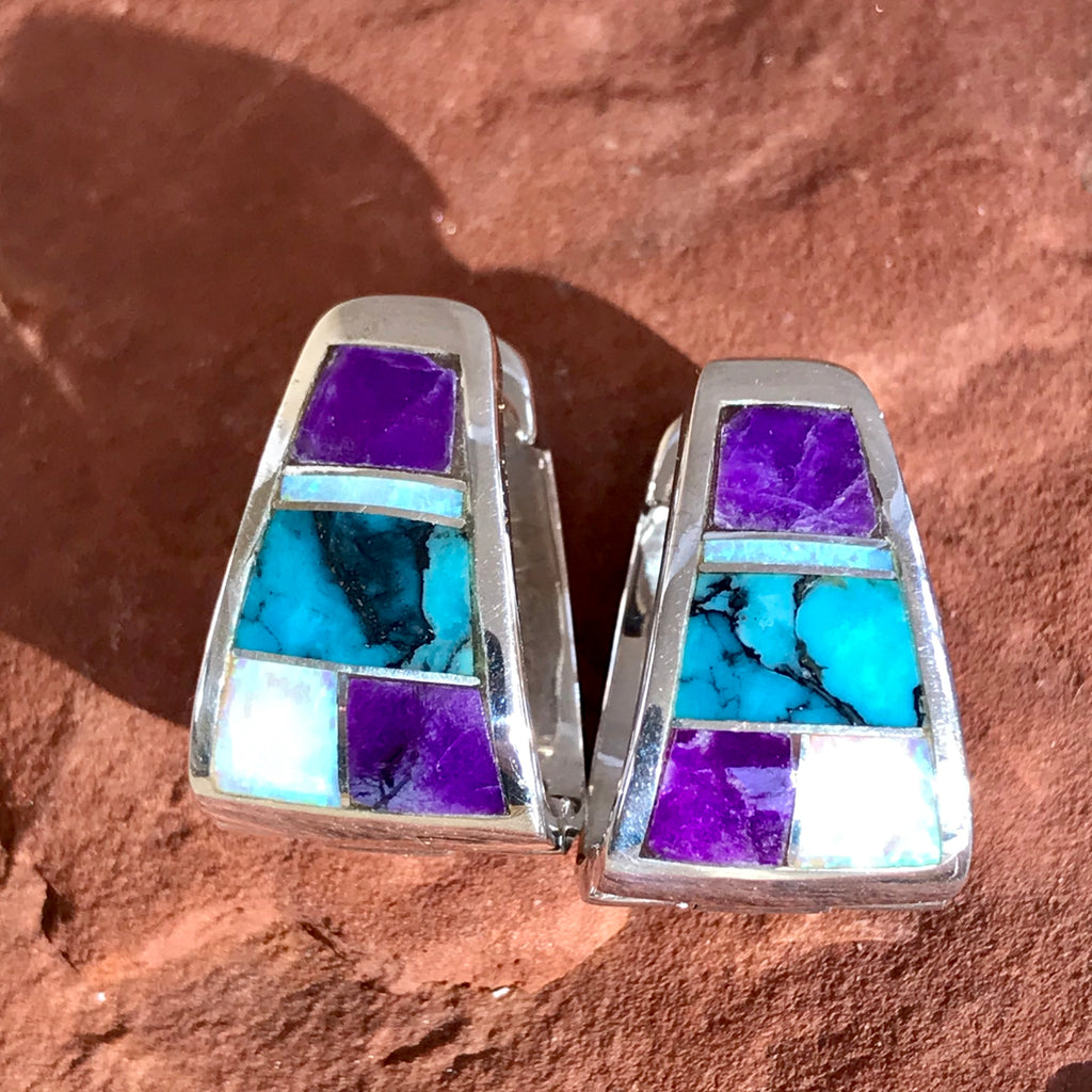Navajo Contemporary Huggie Hoop Earrings with Campitos Turquoise, Sugalite and Cultured Opal by Supersmith 0/135
