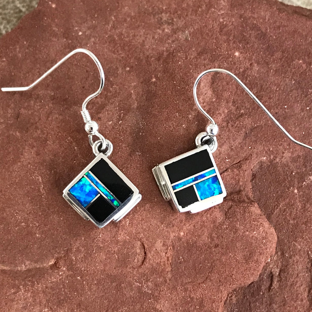 Black Jade & Opal Inlay Navajo Dangle Earrings by David Rosales of Supersmith  0/136