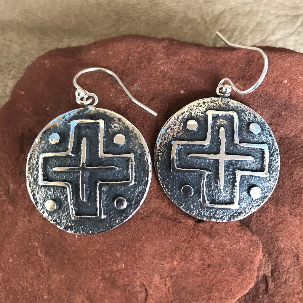 Steve LaRance, Hopi Dangle Tufa Cast  Silver Earrings with Four Directions Design SR1